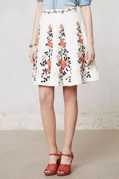 Embroidered Terrasse Skirt - anthropologie.com