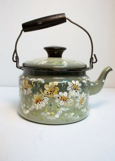 Green Enamelware Tea Kettle Tea Pot Stove Top Hand Painted Scandinavian Folk Art Daisies Swedish Norwegian Style on Etsy, $35.00
