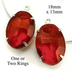 "Red oval rhinestone earrings or pendant jewels - sheer vivid red, 18x13mm (3/4"" x 1/2"") - $3.99 for the pair in silver or brass settings"