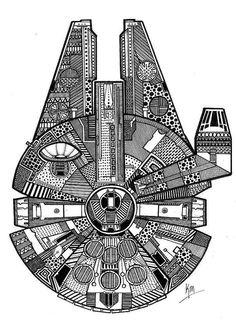 Millennium Falcon sticker by KarinAela on Etsy