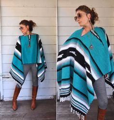 70s Wool Poncho Blanket Southwestern Mexican by LaDeaDeiSogni, $68.00