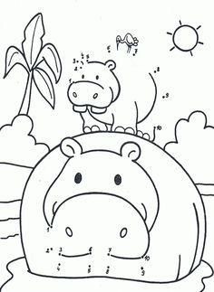Kleurplaat van een nijlpaard 1-10