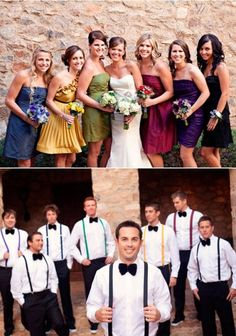 multiply colored wedding party, love the suspenders that match the bridesmaids.  i plan on vests