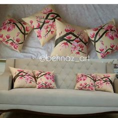 watercolour cushions by me
