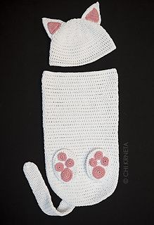 Crochet pattern for adorable Cat Baby Cocoon Hat & Bootie Set.