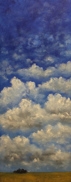 Layers Large Landscape Painting Vertical Canvas Blue by winjimir