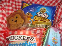 Picnic Basket Food - Teddy Grahams, Gummy Bears, Berries (in Bear Cup), Berenstein Bears juice, PB&J