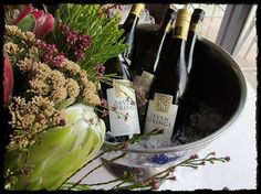 Wine and flowers (local flora called Fynbos) - tasting at Arabella Golf Club, near Hermanus.