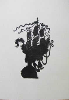 Marie Antoinette Ship Hat Silhouette Cameo - Black on Vanilla, Signed - That'd be a great steampunk hat --- with a Kraken arm coming up from in your curled hair :)