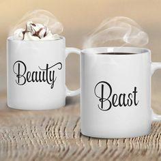 Beauty & Beast Mugs TWO MUGS Mug Set Coffee Mug Set by GulfRoad