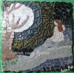 """""""Luna de invierno"""", Mosaiquismo, cerámica, mármol y vidrio templado sobre MDF de 18cm x 18cm Realización Arte.Pat Patricia Laura Sobrado."""