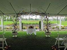 Rental Items for Weddings & Special Events | The Backyard Gardener | Kim Zylstra | Custom Florist for Weddings and Special Events in Lynden, Bellingham, Ferndale, and all of Whatcom County, WA  www.thebackyardgardener.net  Curly willow arch with  scattered flowers