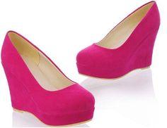 Pink Wedges Shoes | Fuschia Pink Suede Heels Dress Sandals - Wedge ...