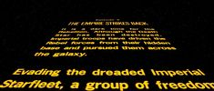 """The Star Wars opening crawl is the famous opening to the Star Wars saga. Each of the seven Star Wars films begin with nearly identical openings, in which the text """"A long time ago in a galaxy far, far away...."""" is displayed, followed by the Star Wars logo over a field of stars. A subsequent downward tilt reveals the film's episode number, the subtitle in all-capital letters, and a three-paragraph summary of events immediately prior to the events of the film."""