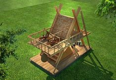 glamping mod perfect for nature camping resort model max obj skp 4 Camping Resort, Bamboo House Design, Tiny House Design, A Frame Cabin, A Frame House, Glamping, Natur House, Triangle House, Bamboo Architecture