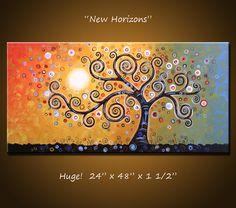 Original Large Abstract Painting via Etsy. Abstract Tree Painting, Painting & Drawing, Leaf Art, Native American Art, Tree Art, Painting Inspiration, Online Art, Painted Rocks, Watercolor Art