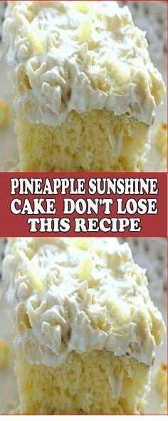 Pineapple Sunshine Cake – Don't LOSE this recipe! Pineapple Sunshine Cake – Don't LOSE this recipe!,Kuchen/Dessert Pineapple Sunshine Cake – Don't LOSE this recipe! Easy Cake Recipes, Easy Desserts, Dessert Recipes, Jello Desserts, Recipes Dinner, Seafood Recipes, Gourmet Recipes, Baking Recipes, Cake Pineapple