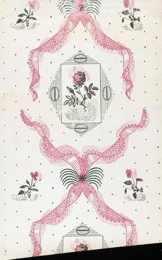 """""""Rose & Lace"""" wallpaper design by Edward Bawden (1938). Known as one of the 'Bardfield Wallpapers' designed in collaboration with John Aldridge for commercial production, before the war intervened. The works were originally produced as linocuts, but were transferred to woodblock for commercial production by Cole and Son Ltd in 1946, when they were well received."""