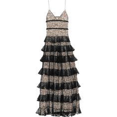 Alexander McQueen Tiered ruffled lace gown (8.350 BRL) ❤ liked on Polyvore featuring dresses, gowns, long dresses, lace evening dresses, boho lace dress, floral ball gown, lace gown and long lace dress