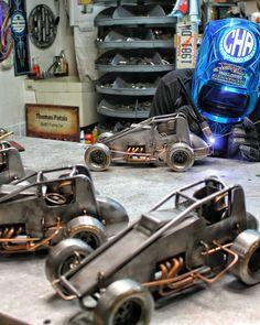 Sprint car replicas welding cold hard art sculpture metal art race car motorsports