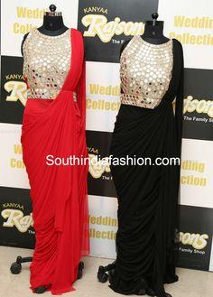 Mirror Work Saree Gowns