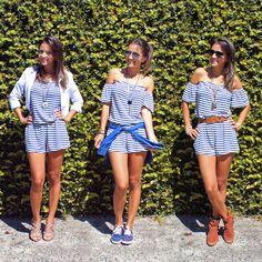 1 peça, 3 look: macaquinho listrado, striped jumpsuit