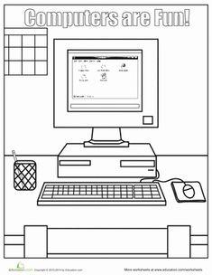 Kindergarten Coloring Worksheets: Computer Coloring Pages