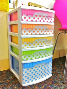 I might do this in less of a rainbow cutesy way if we jack my sterilite for public girl storage shit. Actually, I have some sterilite - can we put it in the side closet as a craft storage thing? Do It Yourself Decoration, Do It Yourself Design, Do It Yourself Home, Do It Yourself Organization, Classroom Organization, Classroom Decor, Kindergarten Classroom, Future Classroom, Organization Ideas