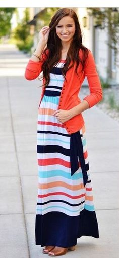 c72c367af9e7e I love the dress stripes with the tie at the waist. Modest Dresses For Women