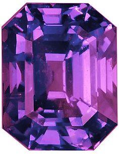 Genuine Purple Sapphire Loose Gemstone, Purple Violet Color, Emerald Cut, 7.1 x 5.6 mm, 1.98 Carats at BitCoin Gems