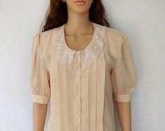 Vintage Lace Blouse, 80's Box Pleated Crochet Lace Collar, Bohemian/Shabby Chic Blouse