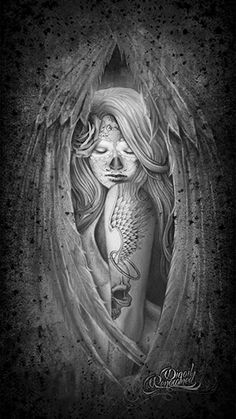 Fallen Angel day of the dead art by Digoil on canvas.  digoilrenowned.com