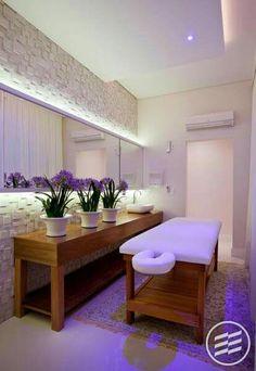 Luces violeta... Spa Interior, Salon Interior Design, Home Design, Salon Design, Design Design, Massage Room Decor, Spa Room Decor, Home Decor, Home Spa Room