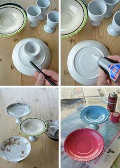Want to make a mini cake stand?  Glue together a small plate and an egg cup.