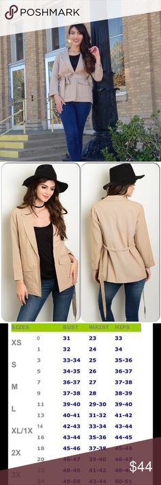 Taupe Jacket This adorable jacket features 3/4 sleeves, has a belted waist and fully lined. 100% Rayon. (This closet does not trade or use PayPal) Re Named Jackets & Coats Blazers