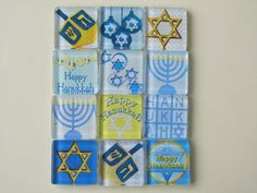 Hanukkah Decorations Refrigerator Magnets Set of 12 by DLRjewelry, $20.00