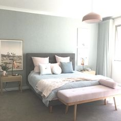 Modern bedroom design in pastels - white, gray, green, blue, and blush pink - Bedroom Ideas & Decor Bedroom Apartment, Home Bedroom, Modern Bedroom, Bedroom Decor, Bedroom Ideas, Apartment Living, Nordic Bedroom, Bedroom Themes, Teen Bedroom