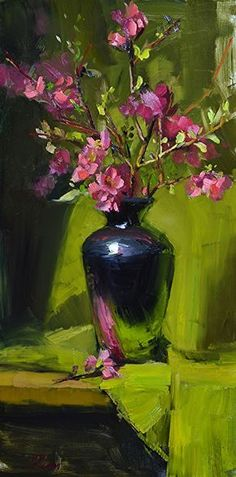 "Pink Pear Blossoms by kelli folsom Oil ~ 24"" x 12"" #OilPaintingStillLife"