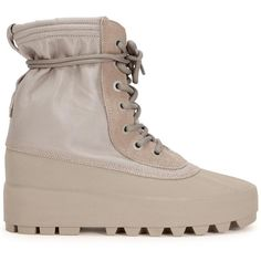 Womens Flat Boots Yeezy Season 1 Yeezy Boost 950 Taupe Canvas Boots ($590) ❤ liked on Polyvore featuring shoes, boots, hidden wedge boots, lace up shoes, taupe shoes, flat boots and round toe boots