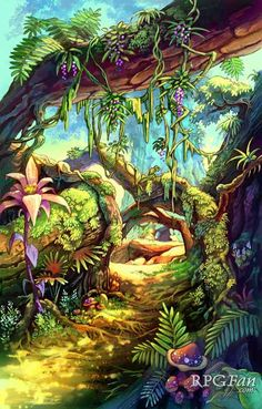 View an image titled 'Jungle Path Art' in our Dawn of Mana art gallery featuring official character designs, concept art, and promo pictures. Fantasy Forest, Fantasy World, Fantasy Landscape, Landscape Art, Jungle Art, Tropical Art, Environment Concept Art, Art Graphique, Fantastic Art