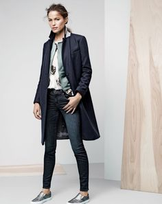 NOV '14 Style Guide: J.Crew women's Melton topcoat, toothpick Cone Denim jean, and Vans classic slip-on in metallic leather sneakers.