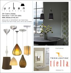 San Diego Home & Garden Magazine ad featuring TECH Lighting products. San Diego Houses, Lighting Products, Innovation Design, Home And Garden, Tech, Ceiling Lights, Urban, Magazine, Contemporary