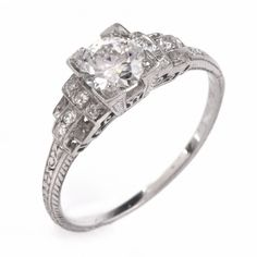 Antique Art Deco Diamond Platinum Engagement Ring Item #: 646301