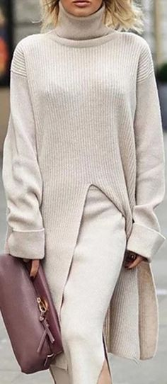 Casual Solid Color High Collar Long Sleeve Split Long Sweater - Fall and winter sweater for women, beautiful printed and comfy material you will love it, pure color and pattern style sweaters you can option. Source by DokiDario - Mode Outfits, Fall Outfits, Casual Outfits, Fashion Outfits, Womens Fashion, Fashion Hacks, Casual Dresses, Fashion Tips, Casual Sweaters