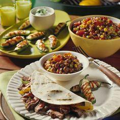 Steak and mushroom fajitas!....Recipe: Steak Fajitas with Grilled Bell Peppers and Portobello