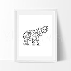 Poly Geometric Elephant Nursery Art Print Wall Decor