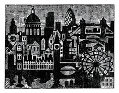 Linocut Print of Central London Skyline and Landmarks