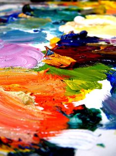 I love all the bright colors of paint.. just like the bright colors on a cake!