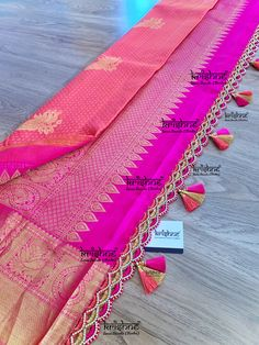 Customised Saree Kuchu & Pallu designs handcrafted to complement your precious silk sarees for celebrating your once in a life time events. Krishne's designer tassel kuchus are our premium offering that are crafted using a combination of handcraft techniques like Aari, Crochet, Hand Embroidery, Maggam, Zardozi etc and are in the price range of ₹ 500 ~ 6000.  Click www.krishnetassels.com to see all the kuchu types, price range & whatsapp +91 9916253832 or  to place your order.. Saree Tassels Designs, Saree Kuchu Designs, Blouse Designs Silk, Saree Blouse Patterns, Saree Wedding, Desi Wedding, Sewing Sleeves, Crochet Flower Tutorial, Indian Gowns Dresses