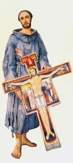 """El Crucifijo que le dijo: """"ven y repara mi casa"""" y así dejó su vida de bonanza y riqueza para convertirse en un pobrecito y ejemplar santo!"""